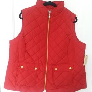 NWT ST. JOHN'S BAY QUILTED PUFFER VEST RED 1X